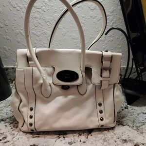 Faux Leather White Bag w1 zip comp n 2 pockets